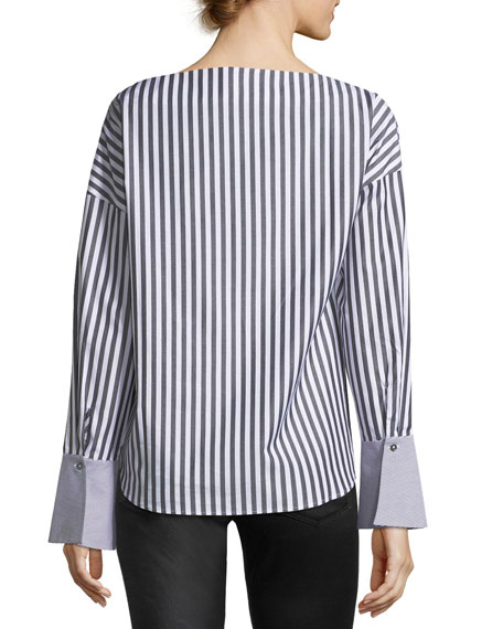 Famke Long-Sleeve Striped Poplin Top