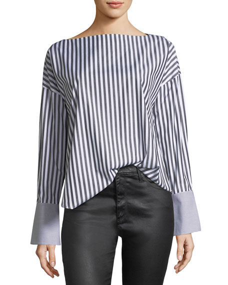 AG Famke Long-Sleeve Striped Poplin Top