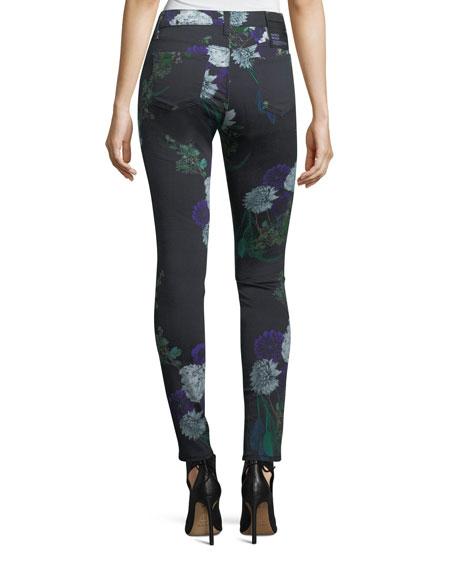 620 Mid-Rise Floral-Print Super Skinny Jeans
