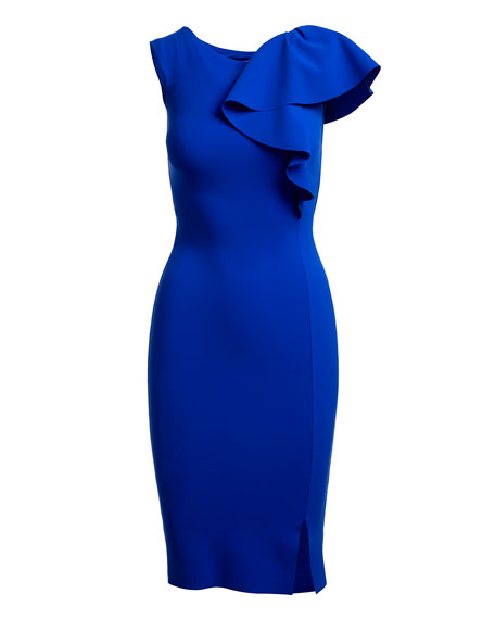 Chitra Asymmetric Ruffle Cocktail Sheath Dress