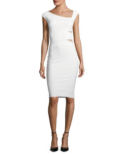 Yashila Asymmetric Cutout-Illusion Cocktail Dress