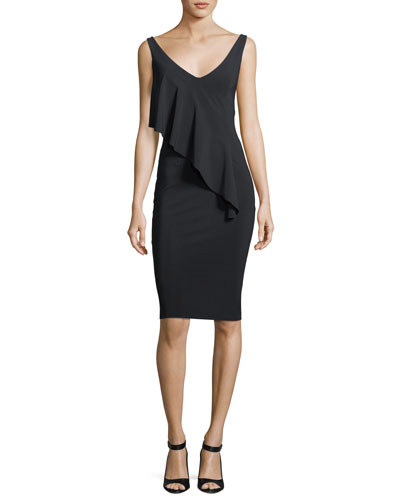 Hofit Draped Ruffle Cocktail Dress