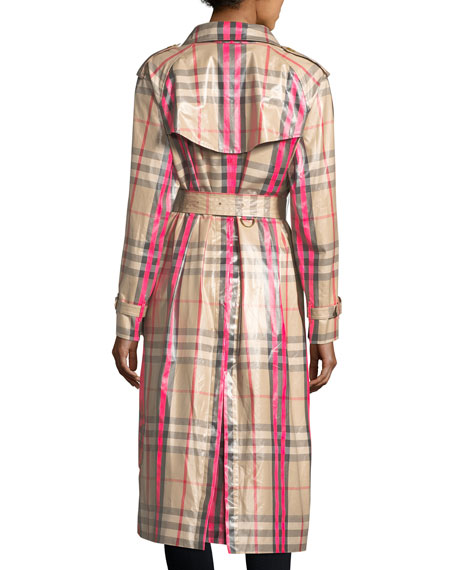Laminated Check Trench Coat