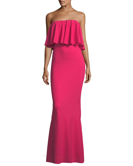 Nadeja Adjustable Fold-Over Ruffle Gown