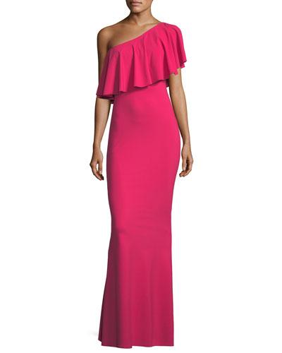 Nadeja Adjustable Fold-Over Ruffle Gown