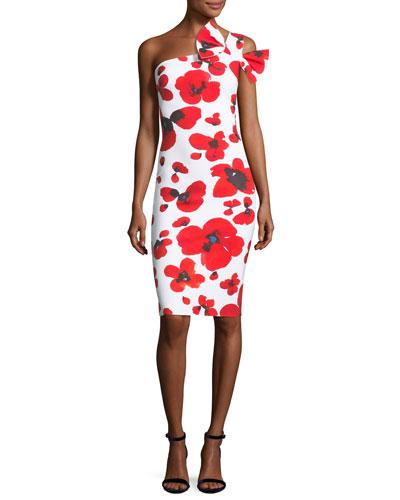 Manik Floral-Print One-Shoulder Cocktail Dress