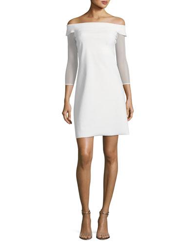 Nastassia Illusion Long-Sleeve Mini Cocktail Dress