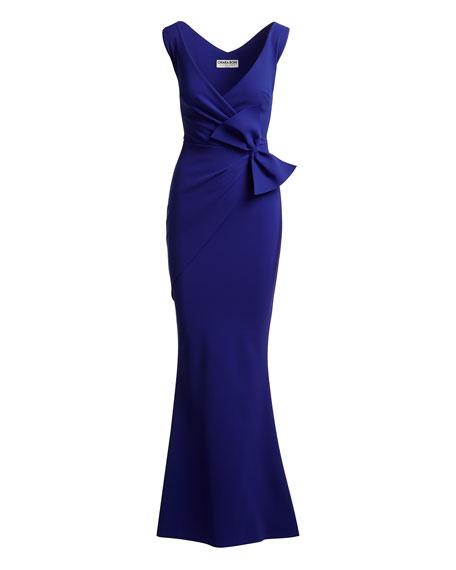 Lulwah V-Neck Column Bow Gown