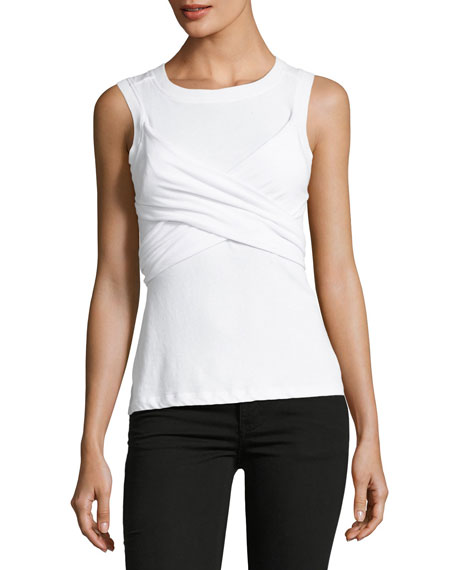 T by Alexander Wang Twist-Front Sleeveless Draped Cotton