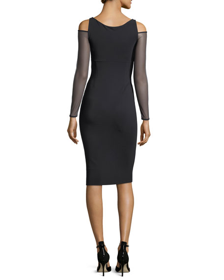 Daniela Illusion Cold-Shoulder Cocktail Sheath Dress