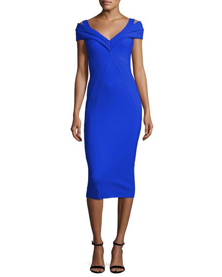 Tikan V-Neck Midi Cocktail Dress