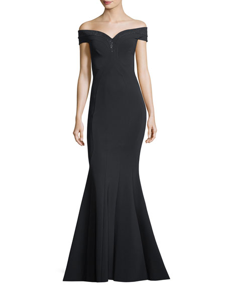 Gena Embellished Off-the-Shoulder Mermaid Gown