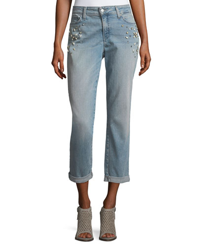 Jewel-Trim Boyfriend Jeans