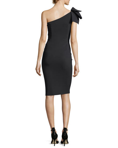 Tashline One-Shoulder Bow Cutout Cocktail Dress