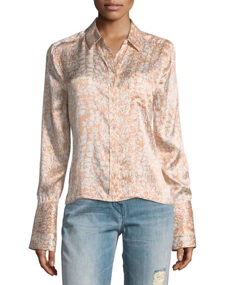 Equipment Huntley Crocodile-Print One-Pocket Silk Satin Shirt