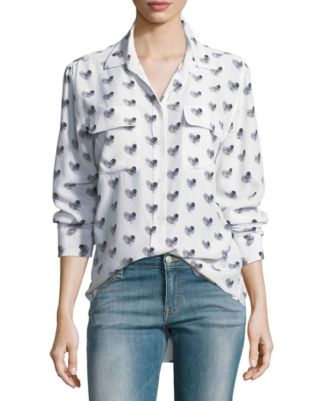 Equipment Heart-Print Button-Front Silk Signature Shirt