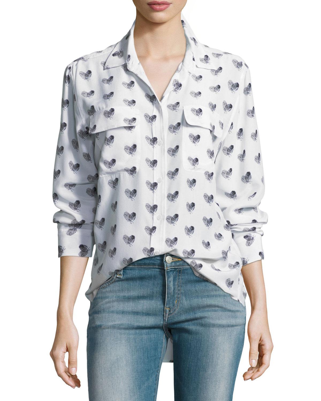19a1428f02666 Equipment Heart-Print Button-Front Silk Signature Shirt