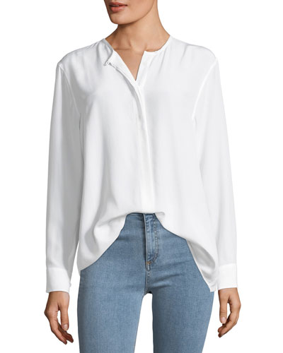 Crewneck Long-Sleeve Silk Tunic