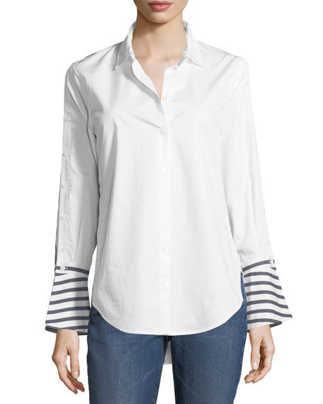 Equipment Button-Front Striped-Back Poplin Shirt