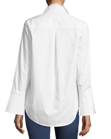 Rossi Button-Down Flare-Cuff Poplin Shirt