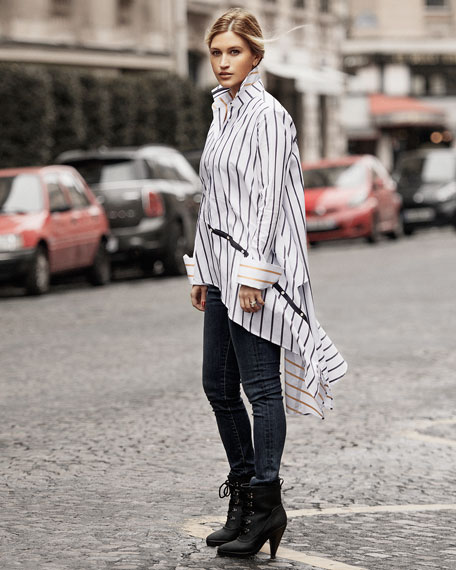 Spicy Button-Front Asymmetric Striped Cotton Shirt