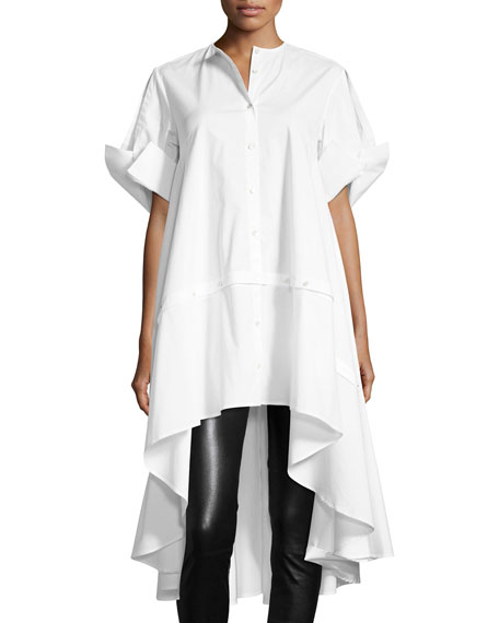 Sequel Button-Front Short-Sleeve Poplin Shirt