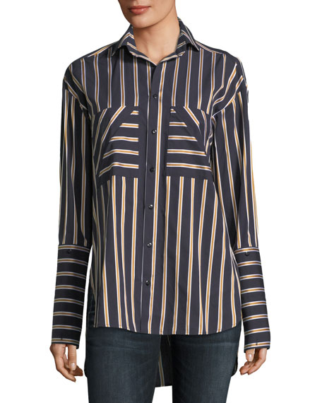 palmer//harding Striped Button-Front Cotton Shirt