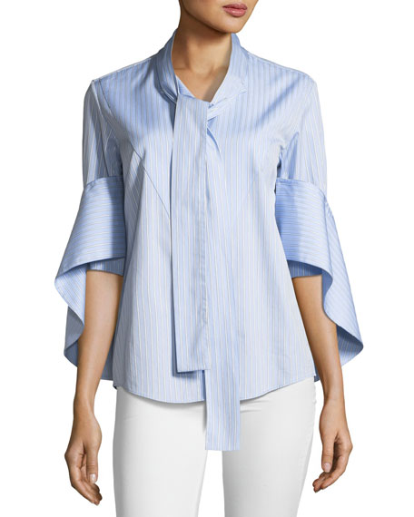 Button-Front Tie-Neck Cascade-Sleeve Striped Shirt
