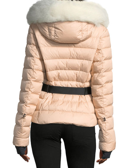 Beverly Belted Quilted Puffer Coat with Fur Hood