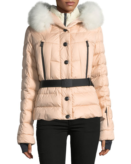 Moncler Beverly Belted Quilted Puffer Coat with Fur