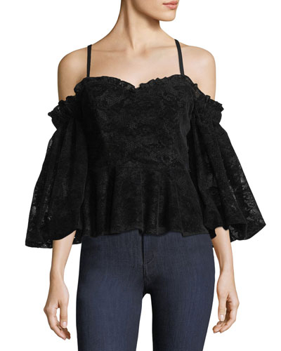 Row Off-the-Shoulder Lace Top