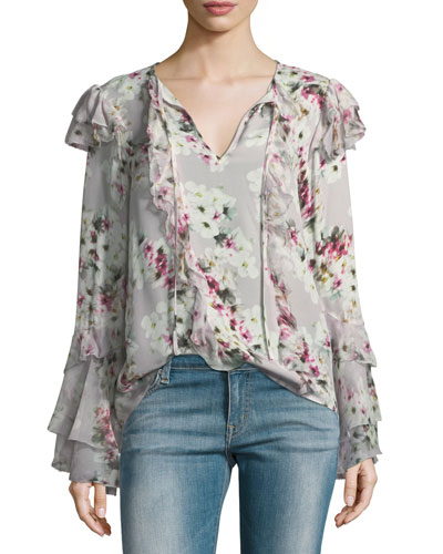 Keenya Floral-Print Split-Neck Silk Blouse