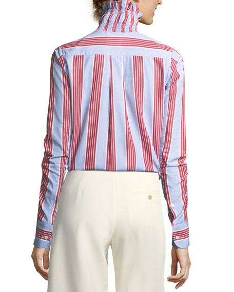 Smocked Collar Long-Sleeve Striped Poplin Shirt
