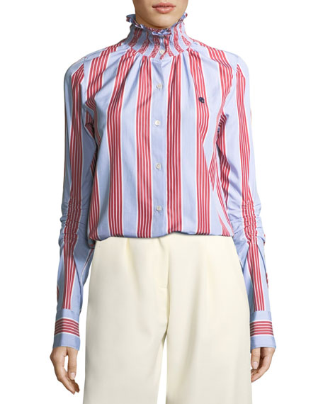 Smocked Collar Long-Sleeve Striped Poplin Shirt