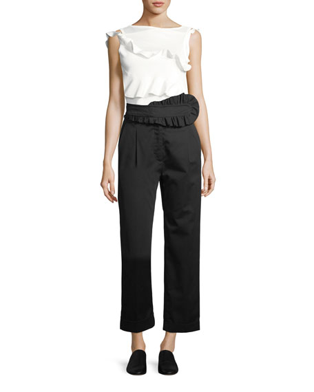 Straight-Leg Poplin Trousers