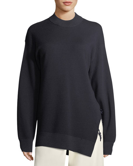 Carven Crewneck Oversized Merino Wool Sweater with Slit