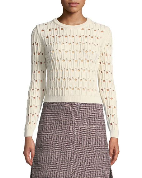 Carven Italian Cotton-Blend Pointelle Sweater