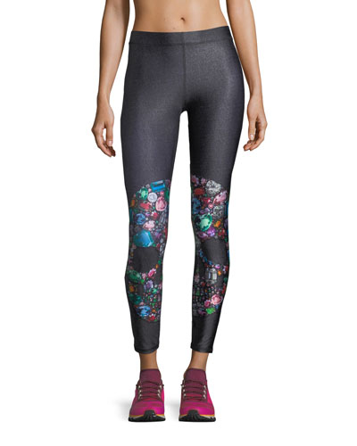 Terez Gemstone Crystal Skull Performance Leggings