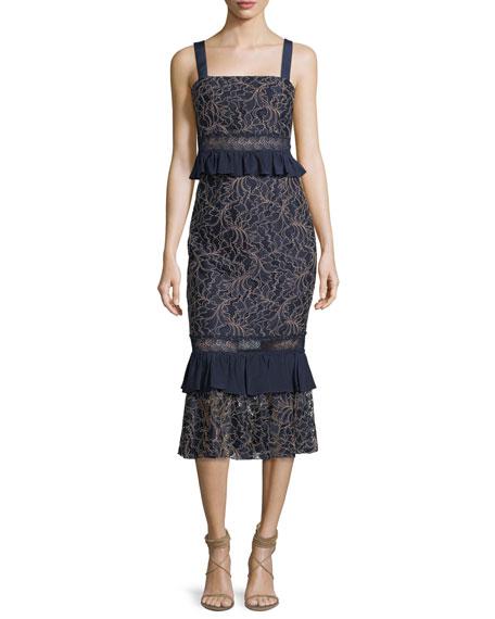 Jay Godfrey Essena Sleeveless Peplum Midi Dress