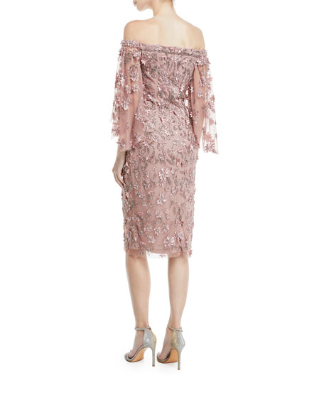 Off-the-Shoulder 3-D Floral Embroidery Sheath Dress