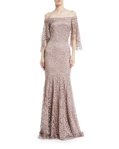 Swarovski Crystal Lace Flutter-Sleeve Gown