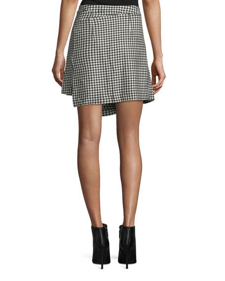 Houndstooth Wool Wrap Kilt Skirt