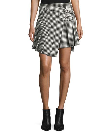 McQ Alexander McQueen Houndstooth Wool Wrap Kilt Skirt