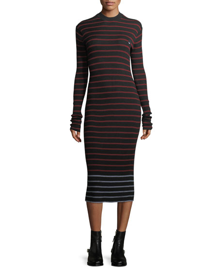 Striped Crewneck Rib-Knit Bodycon Dress