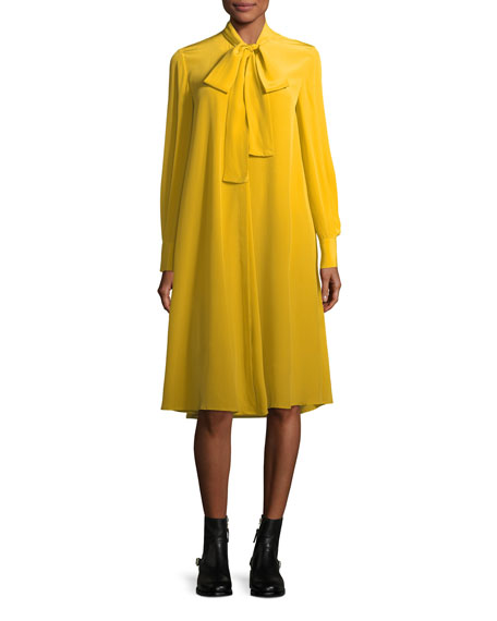Tie-Neck Long-Sleeve Silk Dress
