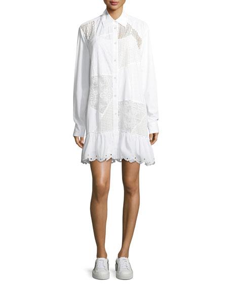 McQ Alexander McQueen Mixed-Media Button-Front Long-Sleeve Cotton