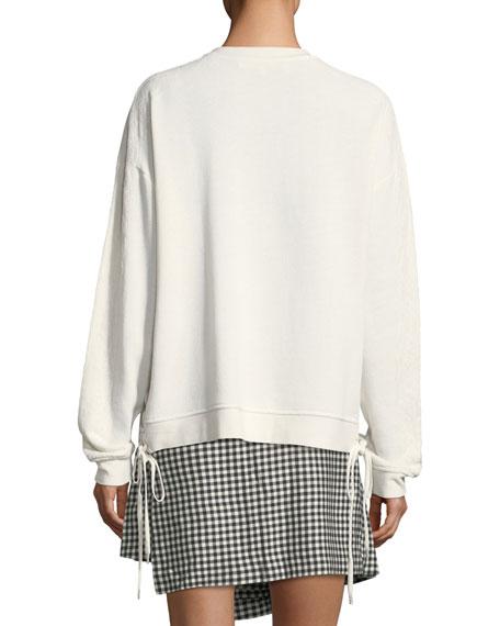 Slouchy Crewneck Sweatshirt with Lace Trim