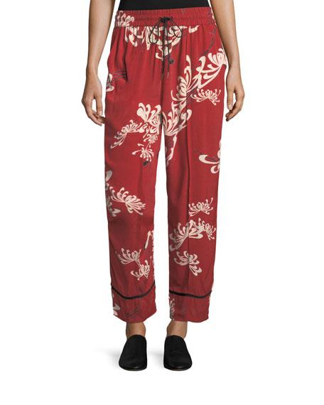 McQ Alexander McQueen Drawstring Wide-Leg Printed Silk Pajama