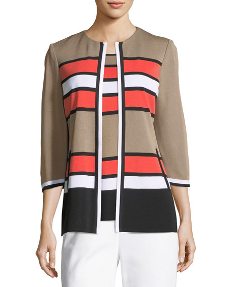Unexpected Stripes 3/4-Sleeve Jacket, Petite