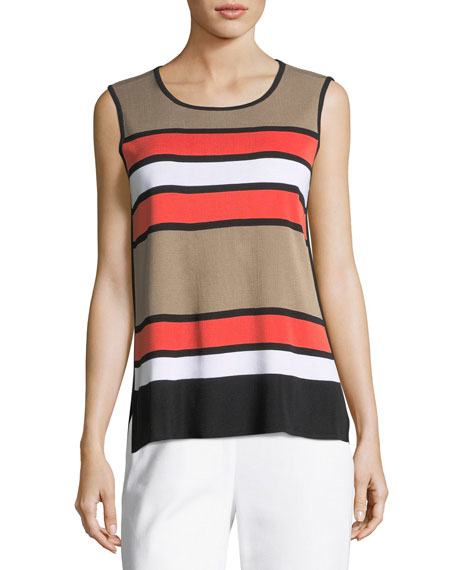 Multi Stripe Scoop-Neck Tank Top, Petite